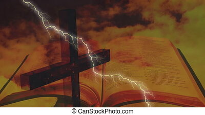 Digital composition of thunder effect over cross and bible against sky