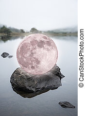 Digital composte of surreal pink Super Moon sitting on top of a rock on a calm lake surface giing a fantasy type or syle look to the image