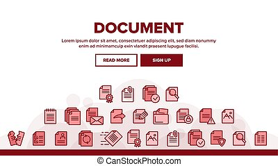 Digital, Computer Documents, File Vector Linear Icons Set