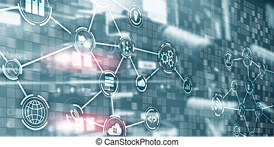 Digital concept internet of things information and telecommunication technology. Mixed media