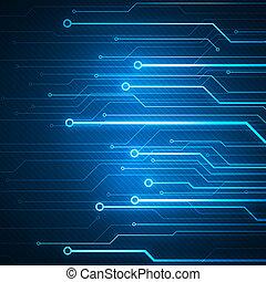 Digital conceptual image circuit microchip on blue ...
