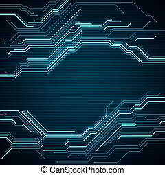 Digital conceptual image circuit microchip on blue background