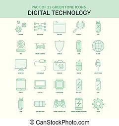 digital, conjunto, icono, 25, tecnología, verde