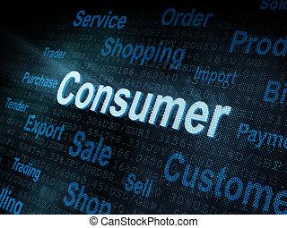 digital, consumidor, pixeled, pantalla, palabra