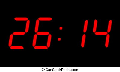 Digital countdown timer in red color over black background