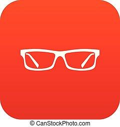 digital, cristales del ojo, rojo, icono