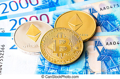 Digital cryptocurrency Bitcoin and Ethereum lying on the russian rubles