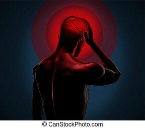 digital, cuerpo, teniendo, un, dolor de cabeza