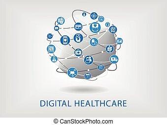 digital, cuidados de saúde, infographic