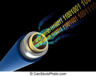 digital data - 3d illustration of cable with digital binary...