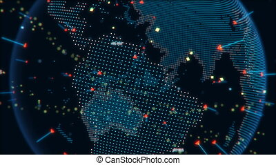 Digital data globe animation, a scientific technology data network surrounding planet earth conveying connectivity, complexity with particles in orbit around the earth