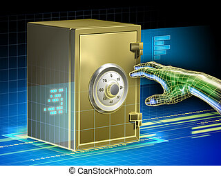Digital data safety - Digital data protected by a safe. An ...