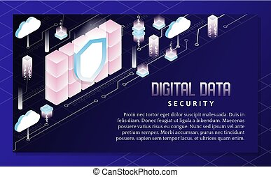 Digital data security vector isometric illustration