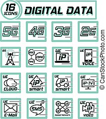 Digital data transfer. Mobile internet concept. Vector icons on a white background.
