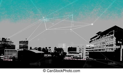 Digital datas on a paint of city background