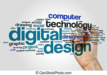 Digital design word cloud concept on grey background