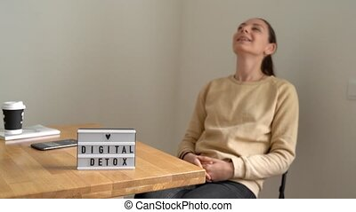Digital detox day of young beautiful caucasian woman. ...