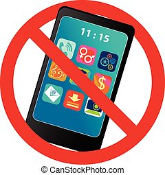 Digital detox - No smartphone prohibition sign, vector...