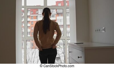 Digital detox of young beautiful caucasian woman. Work from ...