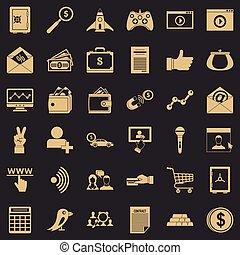 Digital development icons set, simple style