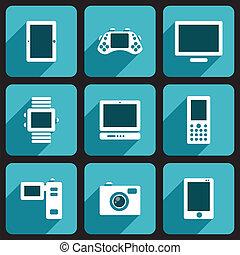 Digital device icons set
