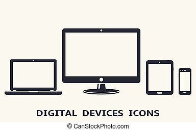 Digital device icons: smart phone, tablet, laptop and desktop computer. Vector illustration.