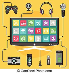 Digital devices connected to a modern Smart TV