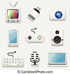 Digital devices icons set isolated on transparent background