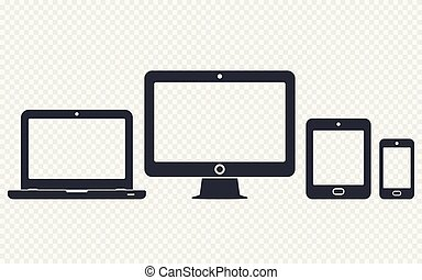 Digital devices icons set: mobile phone, tablet, laptop and desktop computer. Vector illustration of responsive web design.