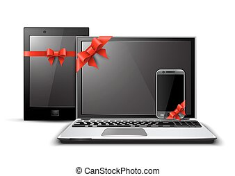 Digital devices with gift ribbons and bow