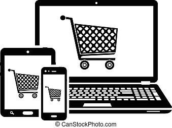 DIgital devices with shopping cart icons. Online shopping icons