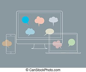 Digital devices with speech bubbles