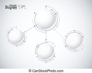 Digital diagram style. Diagram and flow chart of technology concept, presentation. Vector illustration.