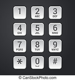 Digital dial plate of security lock or telephone keypad illustration