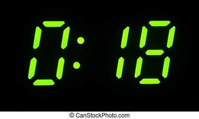 Digital display. Countdown from 29 to 0. Green numbers