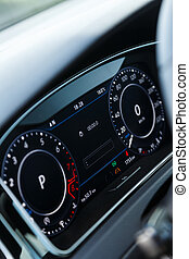 Digital display in car intelligent speed control technology indicator in dashboard