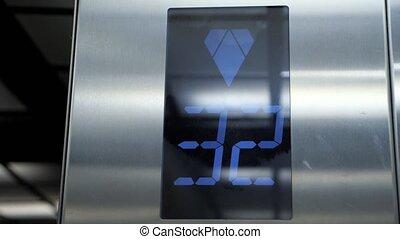 digital display indicating floors numbering in elevator - ...