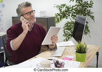 Digital display is essential at his work