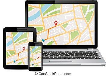 digital, dispositivos, con, gps, navegación, mapa