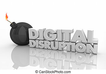 Digital Disruption Bomb Explosive Change 3d Render Illustration
