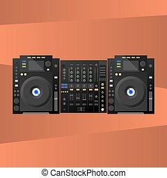Digital DJ deck, mixer. Vector - Deck at the background,...