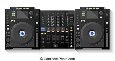 Digital DJ deck, mixer. Vector - Music workstation. Black DJ...