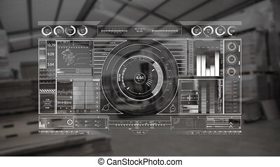 Digital dj equipment with a warehouse background