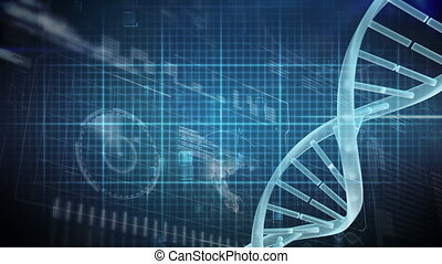 Digital DNA molecule on a digital electrocardiogram background