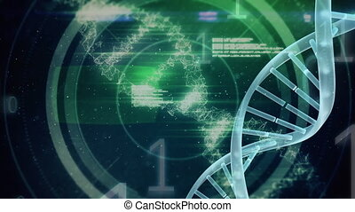 Digital DNA molecule on a space background