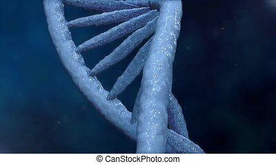 Digital DNA. Rotating DNA strands are assembled from individual elements. Genetic engineering scientific concept.