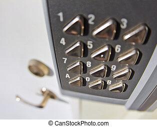 Digital Door Lock - Fisheye photograph of a digital lock...