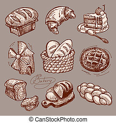 digital drawing bakery icon set