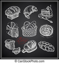 digital drawing bakery icon set on black background