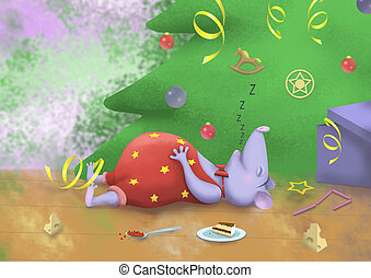 digital drawing of a christmas mouse under the tree 2020
